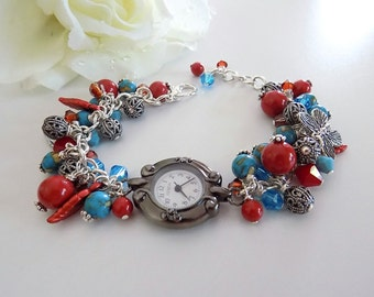 Turquoise Watch Bracelet Red Pearl Watch Women Beaded Watch Turquoise Jewelry Southwestern Watch  Southwestern Jewelry