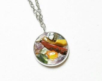 Crushed Gemstone Necklace // Gemstone Jewelry // Crystal Necklace