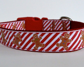 READY TO SHIP! Ginger Bread Candy Cane Stripe Dog Collar