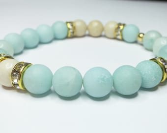 Gemstone Stretch Bracelet; Matte Amazonite & Rhinestone Crystals; Aqua Blue, Ivory, Jasper, Natural; Stacking; Stackable; Comfortable; Gold