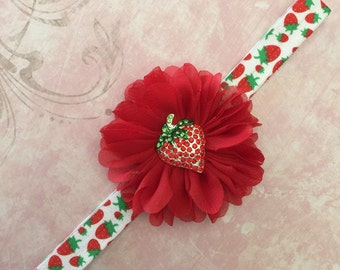 Red Strawberry Baby Newborn Flower Headband  ~ Baby Newborn Photo Prop ~ Baby Headband