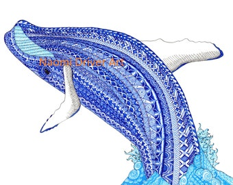 A4 Intricate Patterned Blue Whale Print