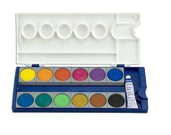 12 Watercolor Cakes, Pelican Watercolour Palette, Watercolor Set, Painting Supplies