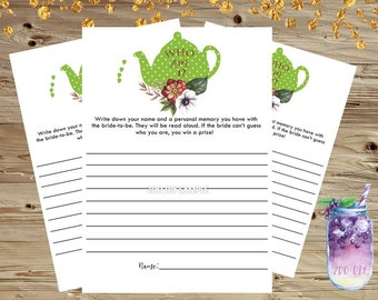 Bridal Shower Game Who Am I/  Guess Game /  Memory Game / Tea Party Bridal Shower Games / Instant Download