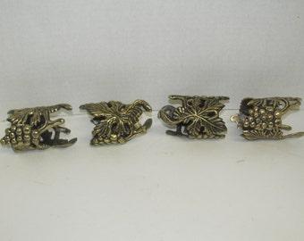 Set of 4 Brass Grape Napkin Rings