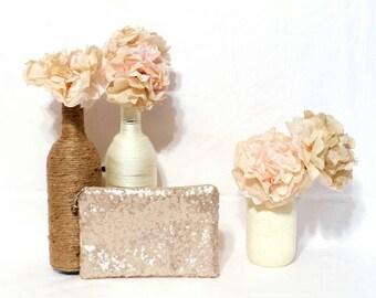 Champagne Sequin Bridesmaid Clutch - Personalized Bridesmaid Clutch - Bridesmaid Makeup Bag - Gold Sequin Clutch - Matte Gold Sequin Clutch