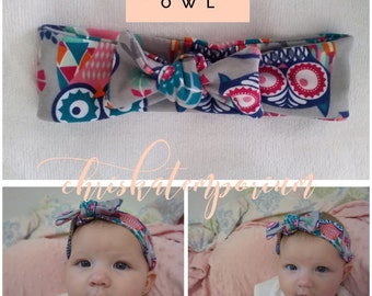 The Riley Baby Knot Headband - Owl
