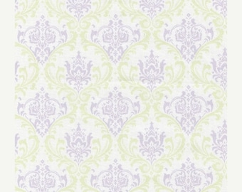 ON SALE Lilac Damask Fabric Purple Green Damask Rare