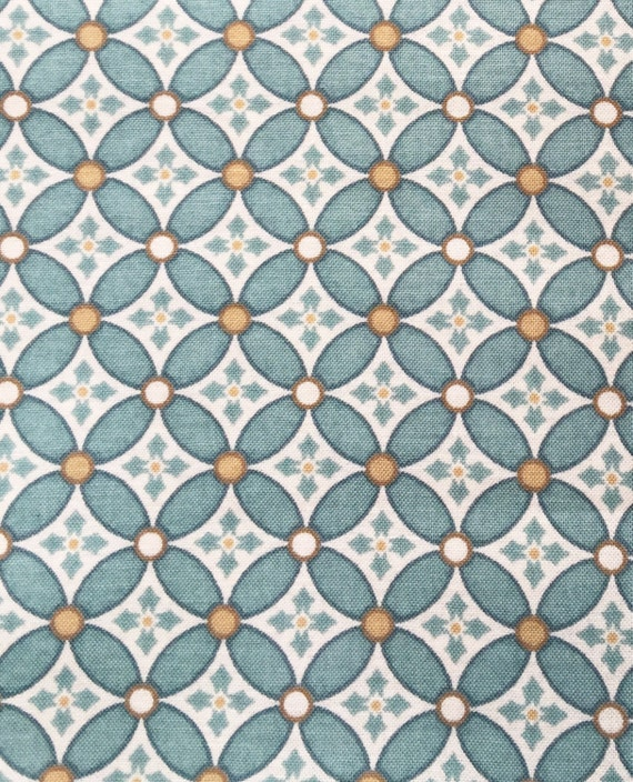 Richloom Designs Blue Gold Tile Screenprint Fabric Remnant