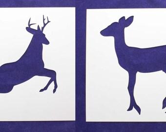 "Deer/Buck  Full Body 8"" x 10"" - 2 Piece Stencils-  14 Mil Mylar"