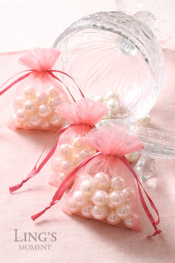 Coral Organza Favor Bags 3x4, 4x6, 5x7 inch-Wedding Party Favor Bag 50 ...