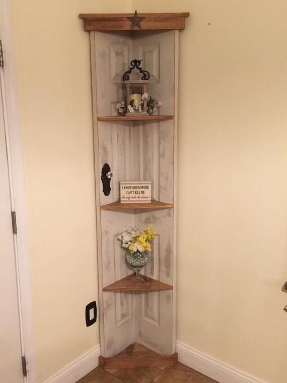 Custom Old Door Corner Accent Shelf Bookcase Country Home