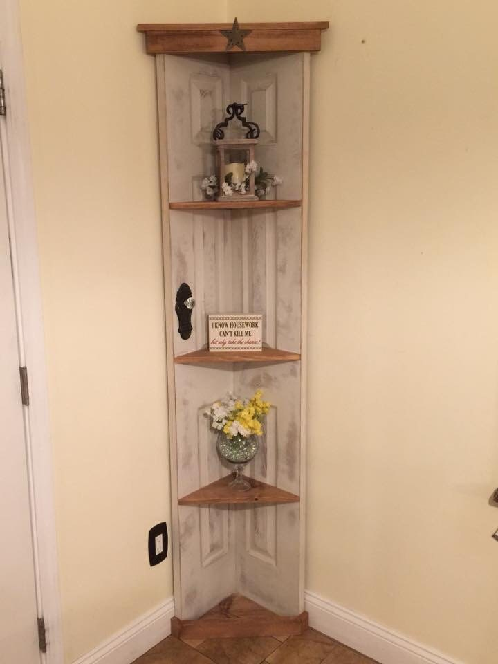 Custom Old Door Corner Accent Shelf Bookcase Country Home