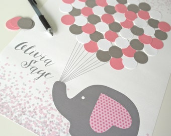 Pink and Grey Baby Shower Decorations, Pink and Grey Elephant Baby Shower Guestbook Alternative, Baby Girl Shower, Pink and Gray Baby Shower