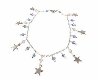 Anklet ankle woman fancy star, blue Swarovski Crystal beads Stainless Steel Bracelet