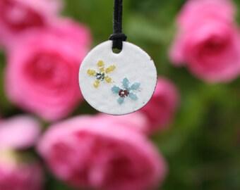 Daisies, enamel pendant, enamel jewelry