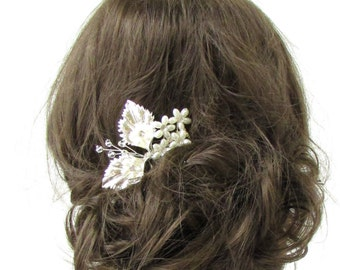 Silver Leaf Hair Comb Daisy Flower Pearl Bridal Vine Wedding Diamante Vtg 567