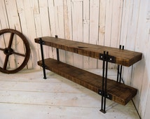 Industrial Style, Solid Oak and Steel, Hallway Shoe Bench, Seat, Low Console Table, Rustic, Shelves, T.V Stand