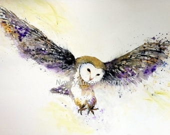 Large Print of my Original Watercolour ..KEEP ME FLYING.. barn owl Painting A3