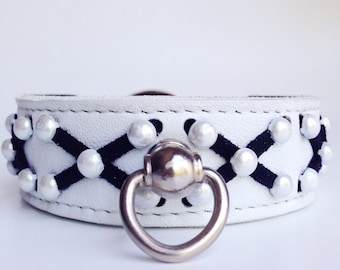 X Small White Leather Pearl Stud Black Suede X Design Lacing Handcrafted Dog Collar