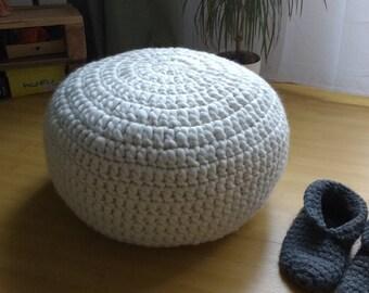White Crocheted Stuffed ottoman-pouf /  Chunky merino wool Knitted footstool pouf / White Crochet floor cushion