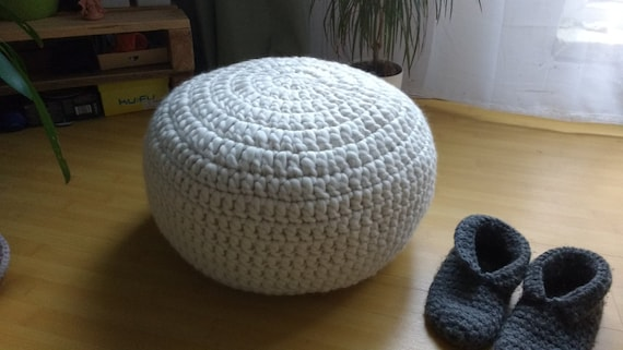 White Crocheted ottoman-pouf / Chunky merino wool Knitted footstool ...