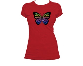 Butterfly. Special Rainbow.  Ladies fitted t-shirt.