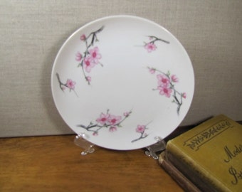Diamond China - Cherry Blossom - Salad Plate - Pink and Gray Floral