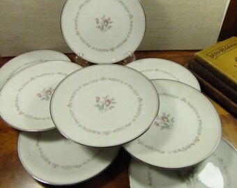 Vintage Noritake Bread and Butter Plates - Mayfair Pattern (1960 - 1971) - Pale Pink Roses - Gray Scrolls - Made in Japan