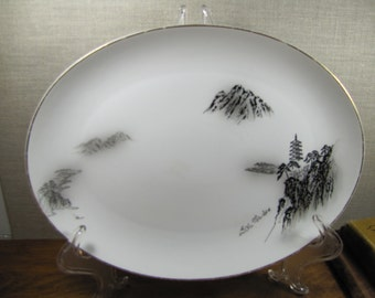 Vintage Fukagawa Arita Landscape Platter - Pattern No. 903 - 1940's to 1950's - Black and White