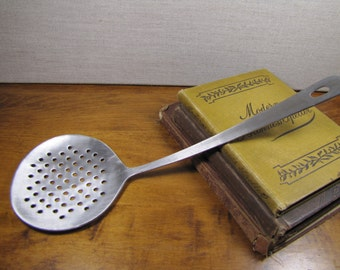 Vintage Perforated Ladle - Skimmer - Heavy Stainless