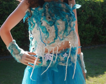 Sale! Was 165USD Beautiful Pixie Fairy Ice Queen/Princess Mermaid Siren Felt Outfit. Top And Wrist warmers. Ready to send.