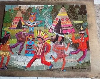 1970s Retro cardboard jigsaw - dancing Native Americans