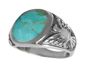 Sterling Silver 11mm Genuine Round Turquoise Men's Ring with Eagle (R810-T)