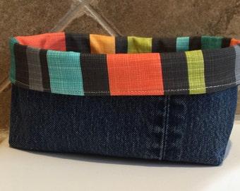 Pair of Denim and stripe storage basket / bin