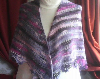 crochet shawl purple mist