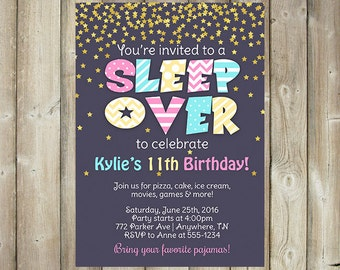 Sleep Over Birthday Party Invitation - Girl Birthday Party Invite - DIGITAL FILE