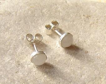 Quartz Stud Earrings, Small Stud Earrings, White English Quartz Earrings, Round Cabochon Earrings, Quartz Jewellery, Small Stud Earrings