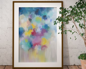Framed Grey and Blue Abstract Art Print - Framed Print - Fine Art Print from Abstract Painting