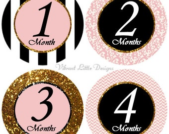 Monthly Baby Stickers Girl, Milestone Stickers, Month Stickers, Baby Month Stickers, Baby Stickers, Black, Gold, Glitter #156