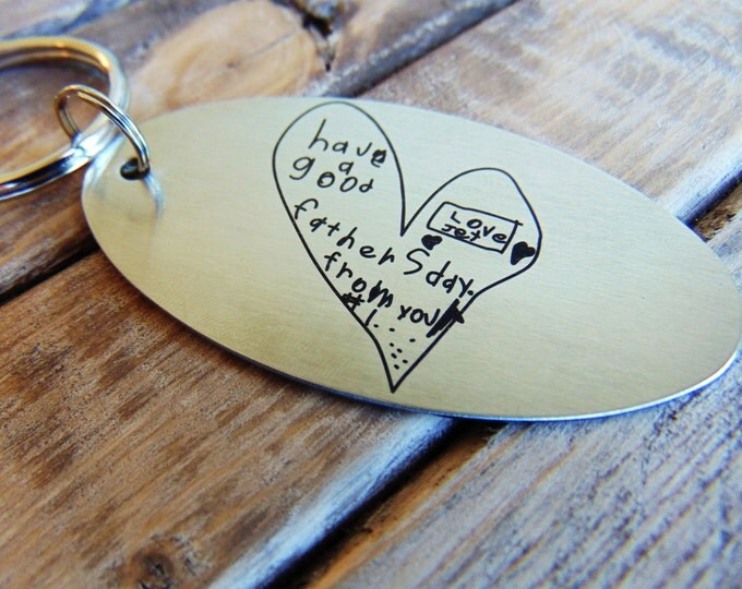 Kid's Drawing Key chain - Actual Child's Handwriting Laser Engraved -  Brushed Stainless Steel- Christmas gift