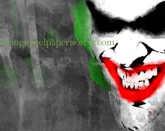 Watercolor Joker, Super Villain Poster, Printable Batman Art, The Joker Art, Instant Download, Comic Book Fan Art, Batman Villains