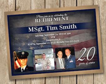 Personalized Military Retirement Invitation card Digital