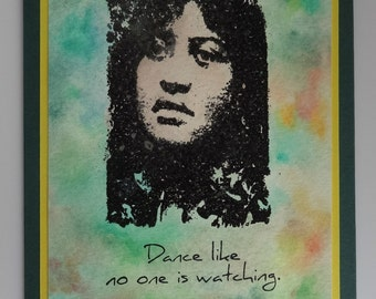 "Hula girl card ""Dance like no one is watching"""