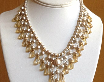 Champagne Pearl Statement Necklace