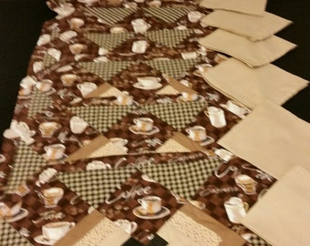Quilted Coffee Placemat Set of 6 with 6 Napkins