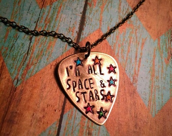 Space & Stars Guitar Pick Necklace