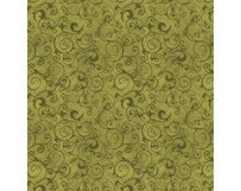 Poppy Celebration Green Scrolls Allover from Wilmington by the yard