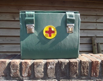 vintage army red cross bag, first aid bag, militairy bag