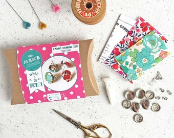 Jewellery kit- Liberty fabric earrings diy craft- Jewelry Making Kit- Jewellery making- DIY craft kit- cover button making kit